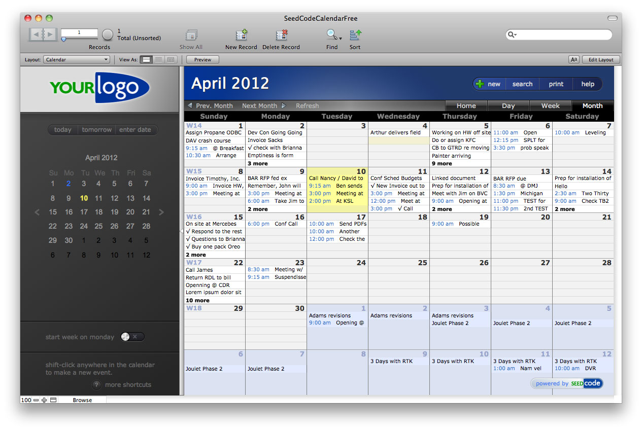 Filemaker 12 compatibility and new free calendar from for Filemaker go templates