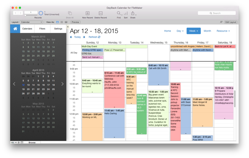 DayBack Calendar Template For FileMaker