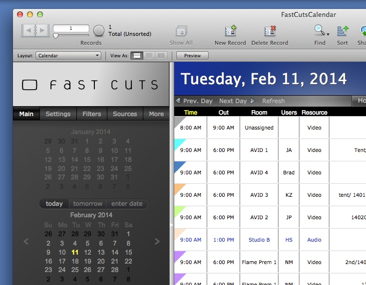 Brett's addition of Out, Room, Users, and Resource columns to the calendar