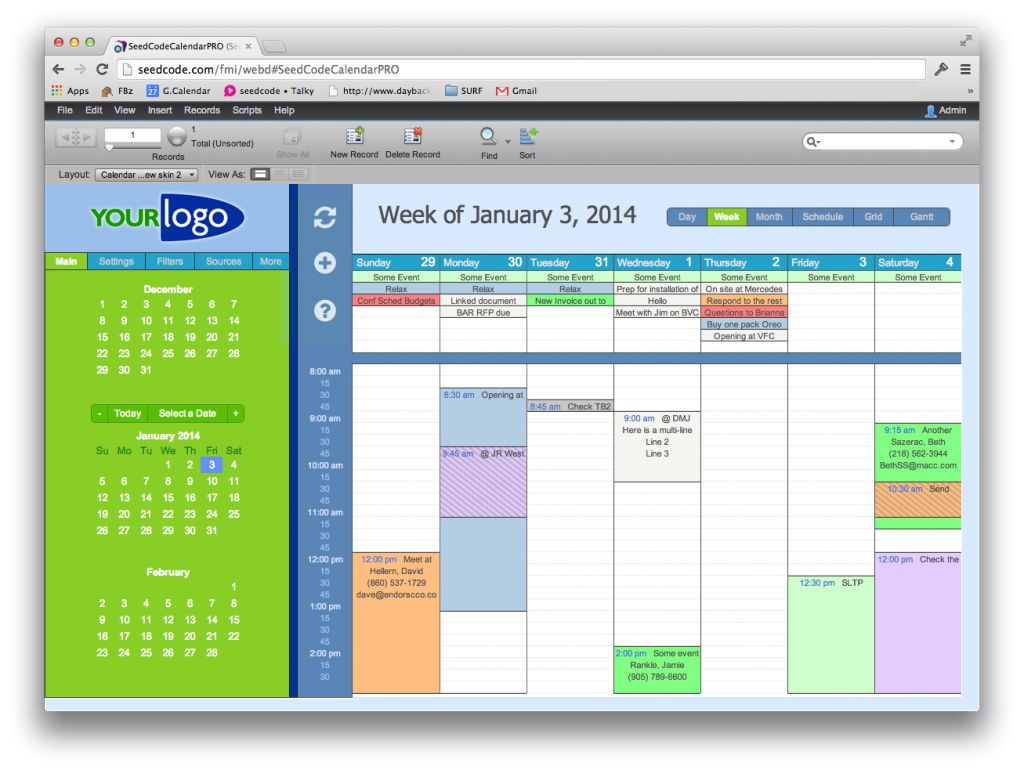 An alternate theme for the Pro Calendar in Web Direct.