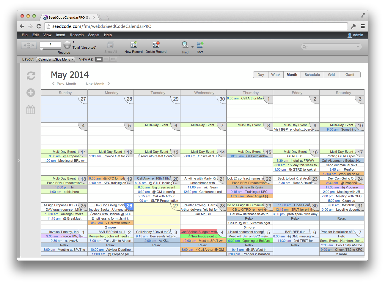 Month View in WebDirect