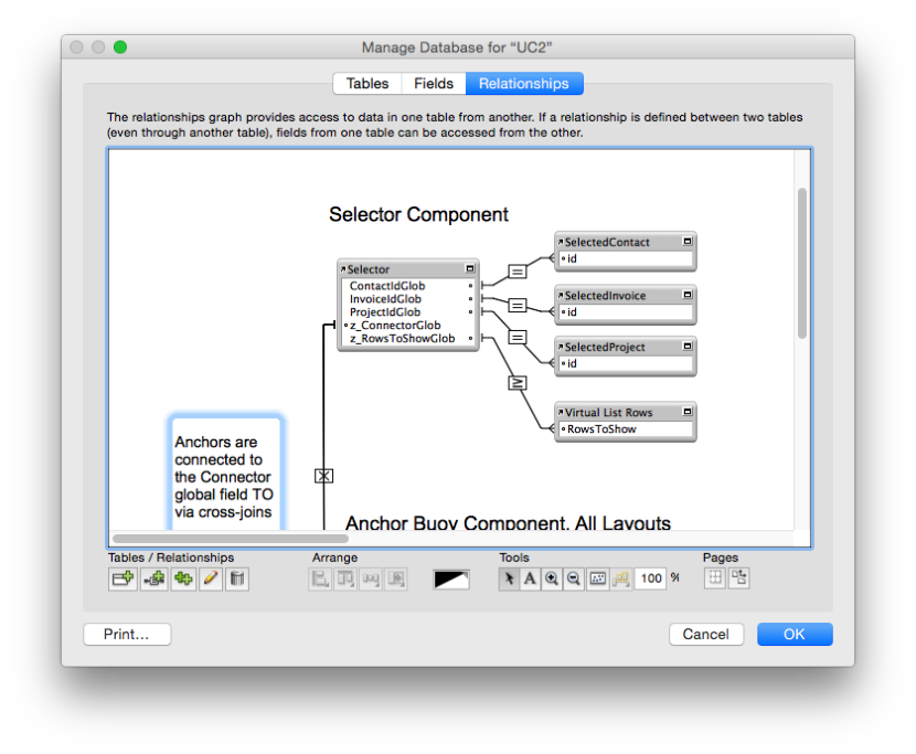 The Selector component of the FileMaker Data Model