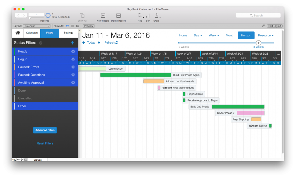 FileMaker Gantt Chart in DayBack Calendar