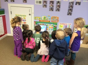 Keaton showing the game to his class.