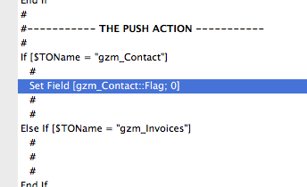 Clearing a flag within the sync transaction in GoZync: simple.
