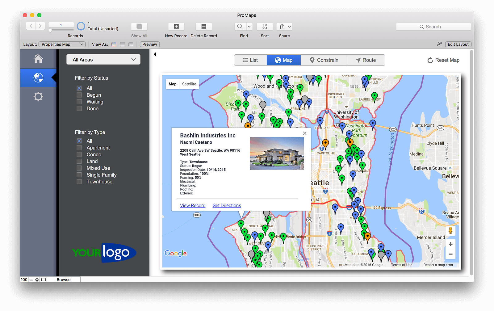 Google Maps Template for FileMaker
