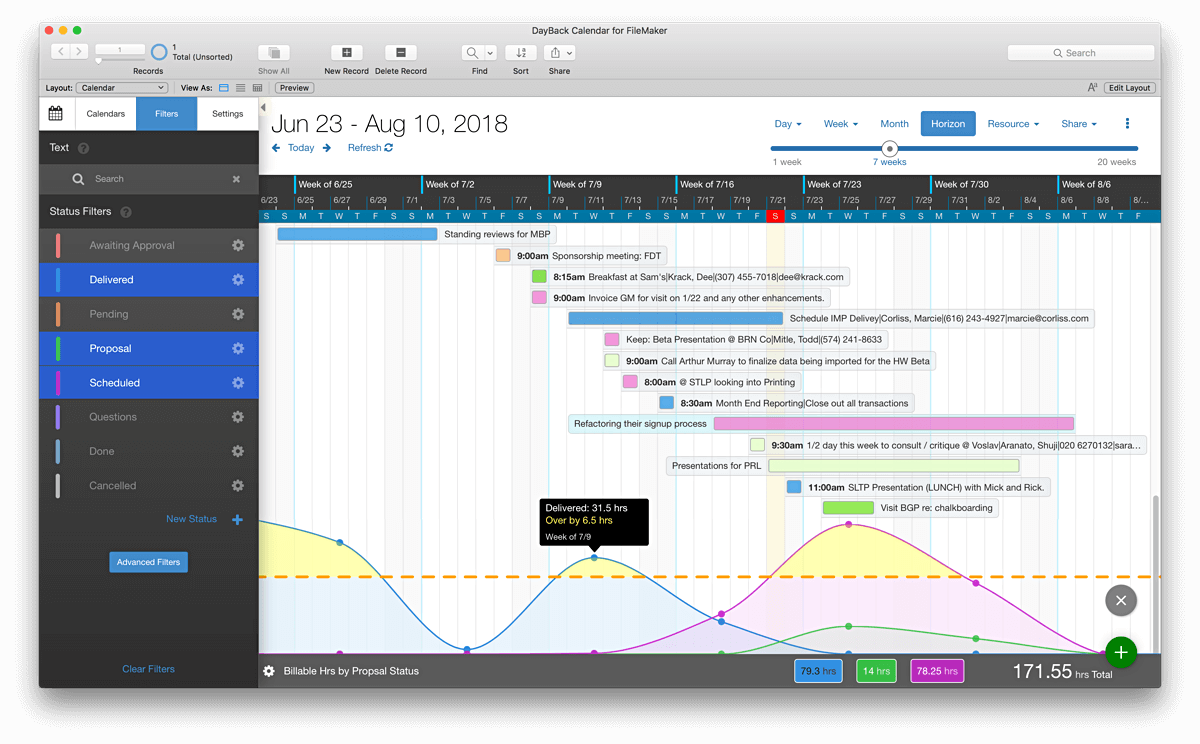 Screenshot - Calendar Analytics for FileMaker Pro