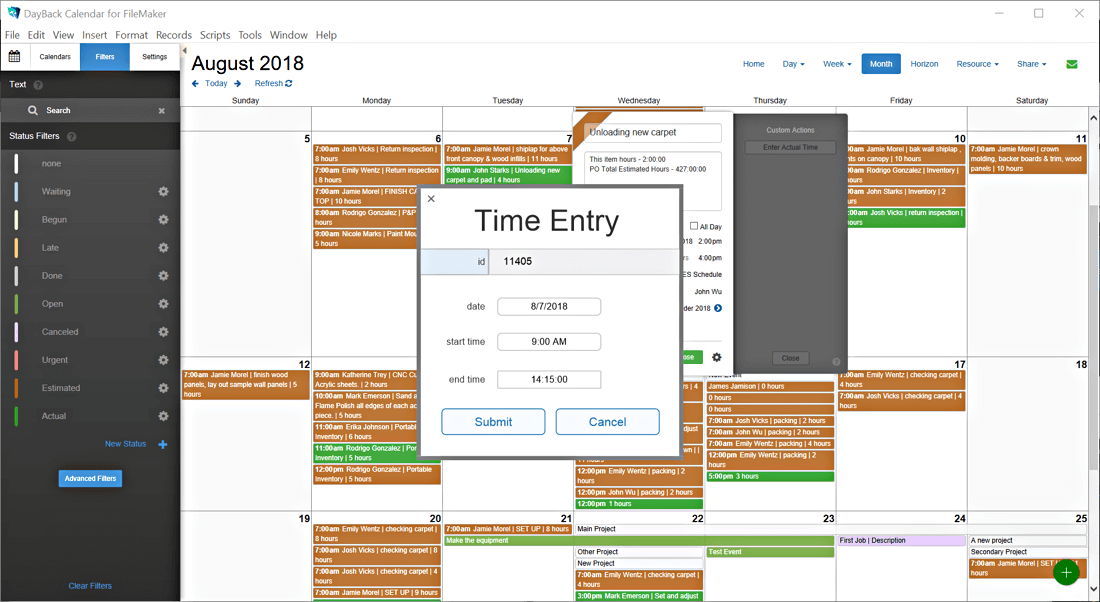 Time tracking in FileMaker Calendar