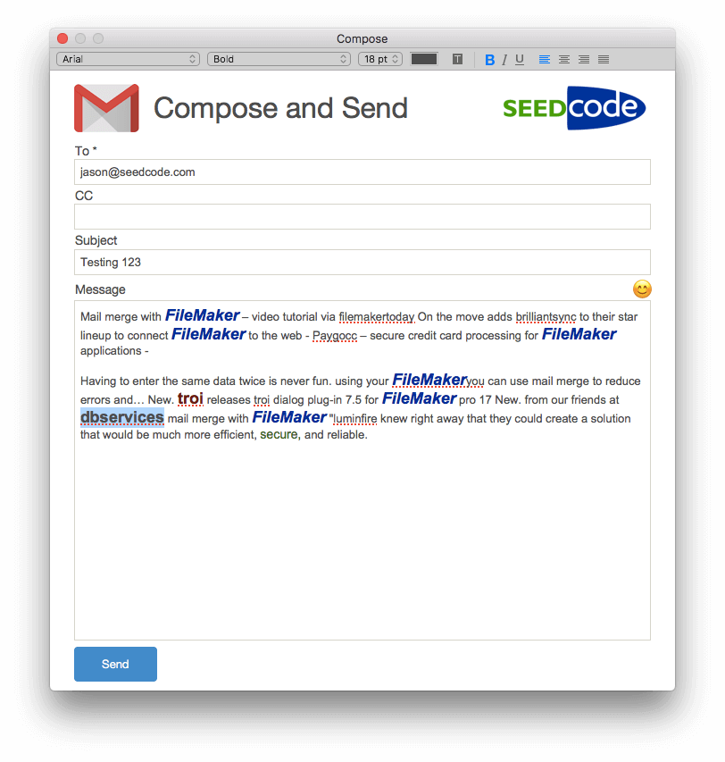 Compose HTML email in FIleMaker