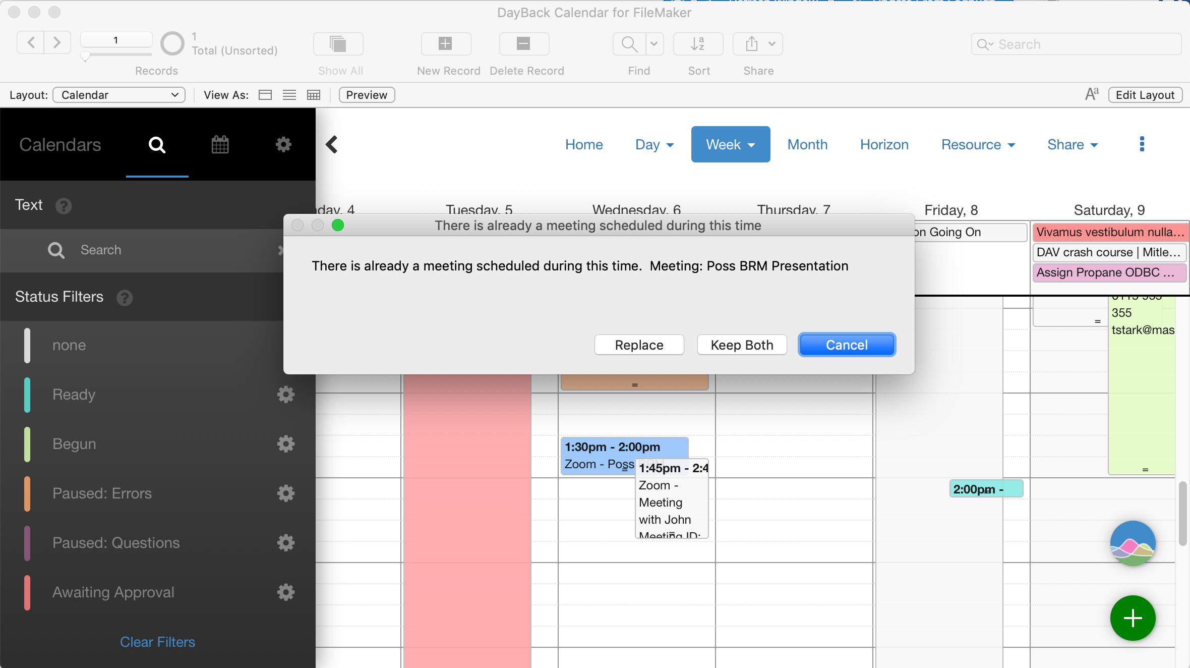 Zoom Meetings for FileMaker - detecting conflicts