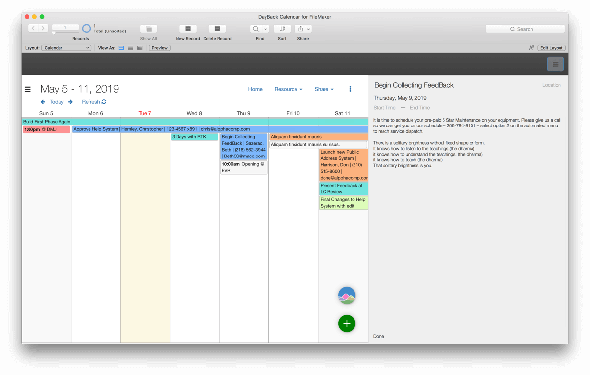 Customizing FileMaker Layout with a Calendar