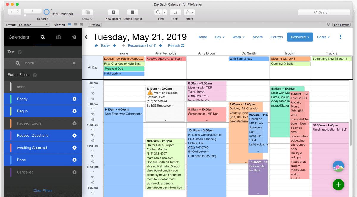 FileMaker Calendar with Resource Scheduling