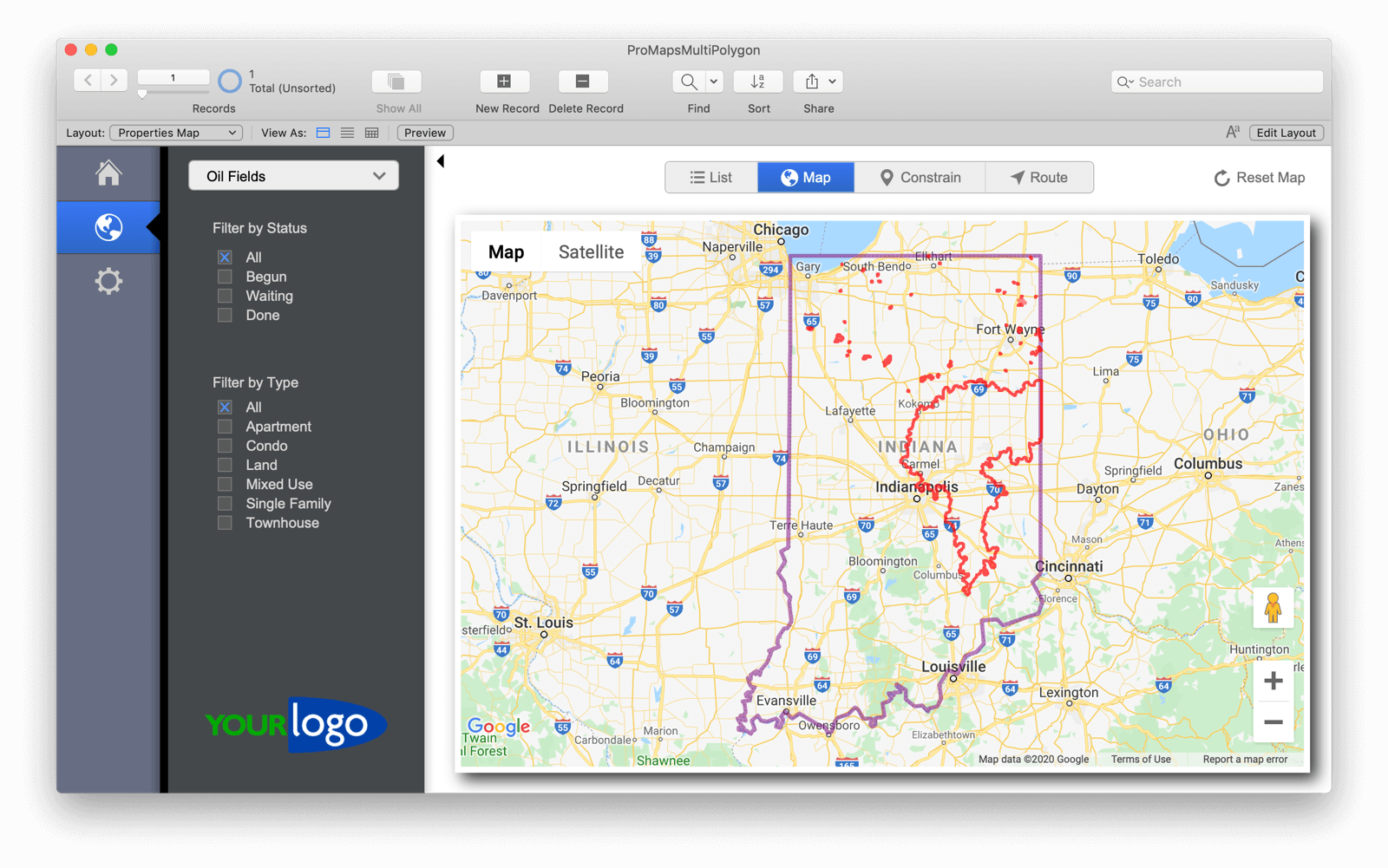 Areas in ProMaps for FileMaker