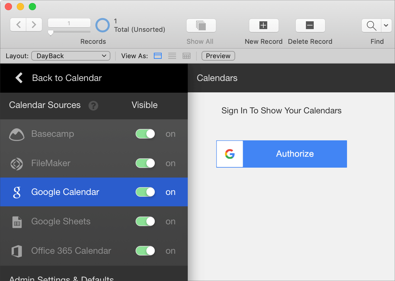Google Calendar for FileMaker 19