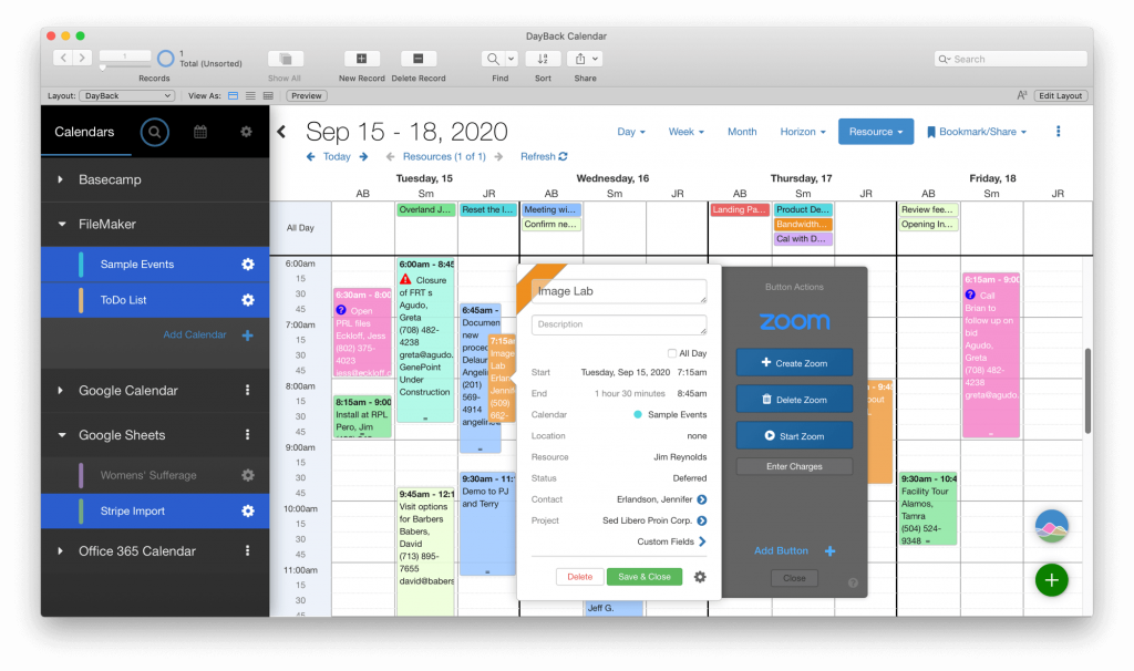 FileMaker 19 Web Viewer Calendar