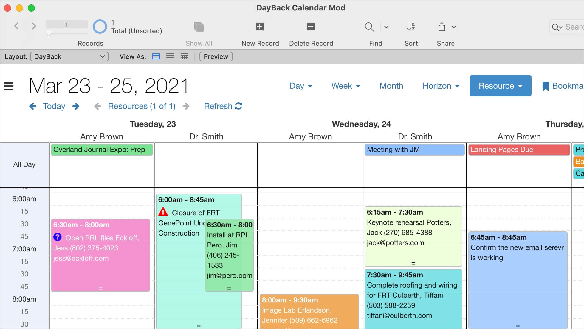 Find Conflicts FileMaker 19 Calendar